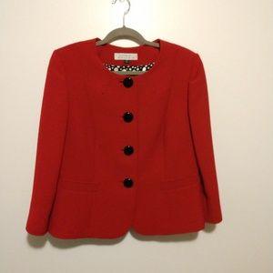 Beautiful Red Tahari Blazer With Polka Dot Lining